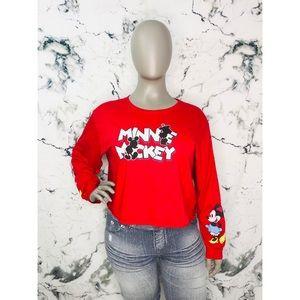 Disney Minnie & Mickey Long Sleeve Crop Top Red